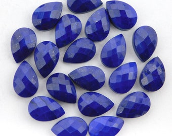 25 pieces lot natural lapis lazuli pear shape checker cut loose gemstone for jewelry