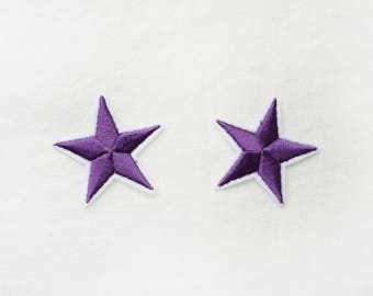 2x purple stars military pinup Rockabilly fashion custom Iron On Embroidered Patch Applique Star rock tattoo