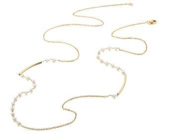 Necklace - White - Brass, Freshwater Pearl - Elegant - Anniversary