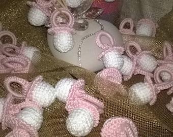 Birth favor or baptism pacifier Pink crochet