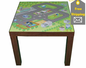 Car city play mat  – Kids room furniture sticker – Ikea hack Lack road map sticker for play tables. Furniture not included.