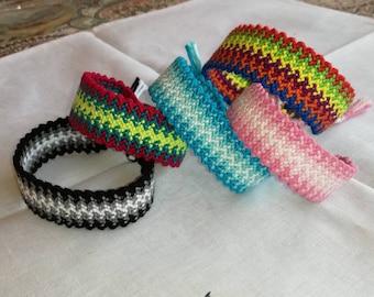 Knotted bracelet, Braided bracelet, Friendship bracelet, Wrist band,Bracelet bresilien, Handwoven bracelet, String bracelet, Bohemian