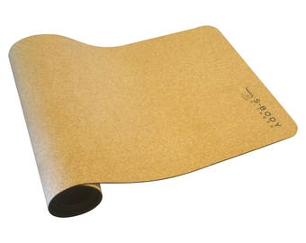 "Cork yoga mat + Yoga bag - eco friendly- 72"" x 24""x 5mm - Hot yoga no towel needed - Hand made set - black natural rubber"