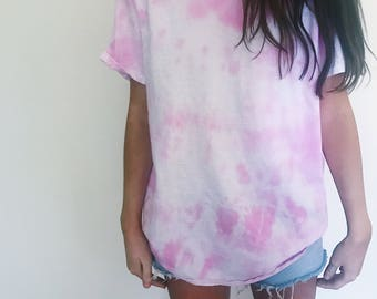 Pink and white tie dye shirt