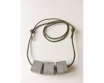 Concrete necklace, Cubes, Handmade