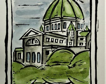 Oratoire Saint-Joseph / Saint Joseph's Oratory, Montreal,  Hand Watercolored Linocut Print by Richard Audet