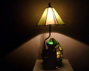 Vintage Stained Glass Frog Game Room Lamp