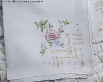 3 exceptional linen batiste handkerchiefs embroidered by hand flowers