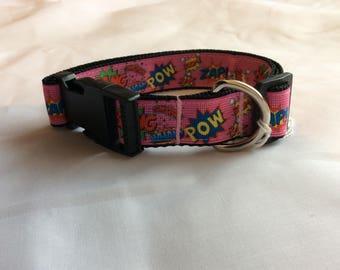 Medium dog collar adjustable pink novelty superheroes design
