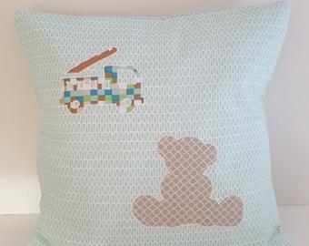 """Cushion 40 x 40 cm """"Teddy bear and fire truck"""" - handmade"""
