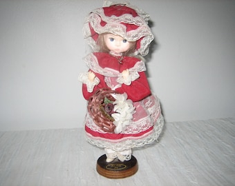 """Bradley Doll Miss Ruby July Collectible Bradley Doll Blonde Hair Blue Eyes Wearing """"Ruby"""" Necklace"""
