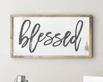 Printable Blessed Sign, Kitchen Signs, Kitchen Decor, Kitchen Wall Decor, Kitchen Art, Home Decor, Hallway Wall Decor, Rustic Home Decor