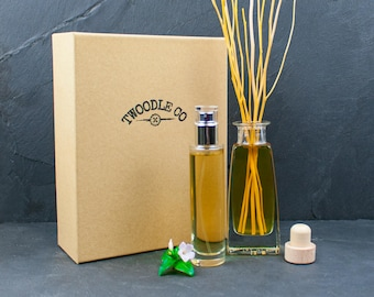 Organic Room Diffuser 100ml and Home Cologne 50ml Gift Set | Vegan and Eco Friendly Natural Scent | Handmade in England