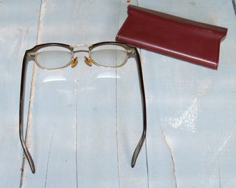Vintage Bausch and Lomb Mens Glasses 1/10 12K Gold Filled 20 46 40s 50s Hipster