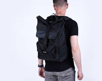 Waxed Canvas Backpack,Canvas Rucksack,Men's Backpack,Waterproof Backpack,Black Backpack,Laptop Backpack,Roll top Backpack,Rolltop Backpack