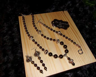 Earth-Tone Shimmer Jewelry Set, Women's Jewelry Set, Gift Set, Handmade, Beaded Necklace, Bracelet and Earrings, Pearl, European Style Beads