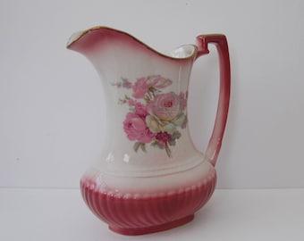 Vintage Rockingham Pink floral jug Rococo style
