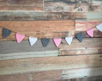 Hand knitted pink, grey and white woollen bunting