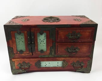 Vintage Oriental Chinese Wood Wooden Jewelry Box Brass And Ornate Carved Jade The Peoples Republic Of China Music Box