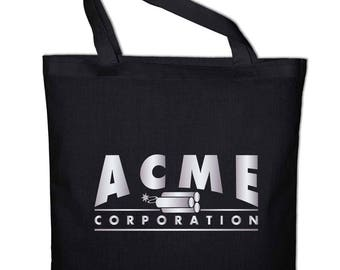 acme corporation logo. acme corporation corp fun jute bag logo
