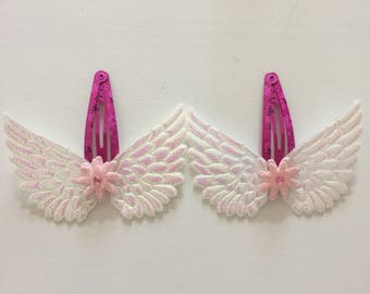 Angel wing hair clips with pom poms