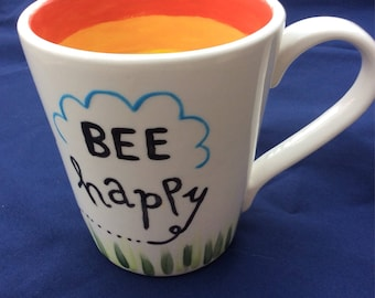 Hand Painted 'Bee Happy' Ceramic Mug