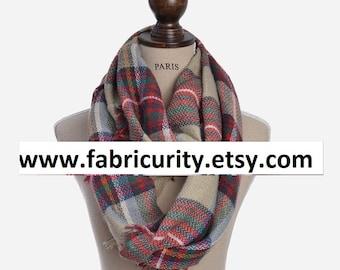 Red Khaki Blanket Infinity Scarf, Infinity Blanket Scarf, Plaid Blanket Scarf, Scarves for Her, Scarves for Women