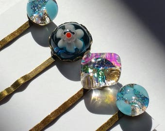 Set of 4 bobby pins with kiln fused dichroic and millefiori glass set in antique tone standard length pins Blue Hair Pins