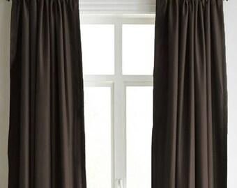 Brown Velvet Curtains, Luxury Handmade Designer Drape Curtains, Window  Curtain Drapery, Brown Velvet