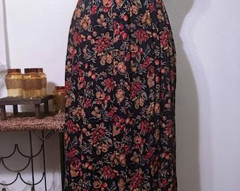 Vintage Floral Prairie Style Maxi Skirt