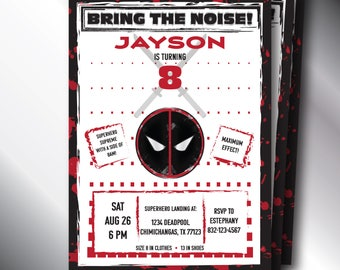 Deadpool Birthday Invitation, 5x7 Digital Invitation