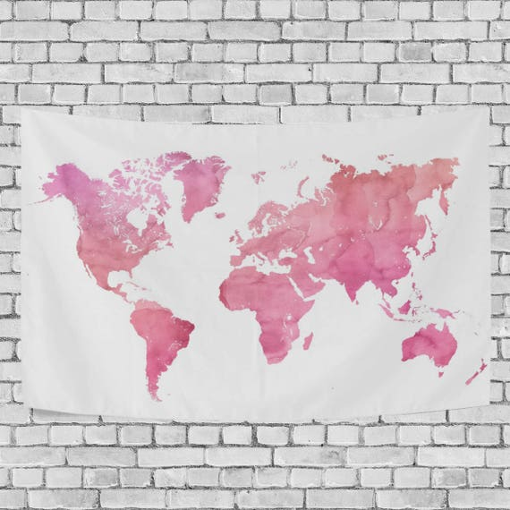 Pink watercolor world map tapestry abstract splatter painting like this item gumiabroncs Images