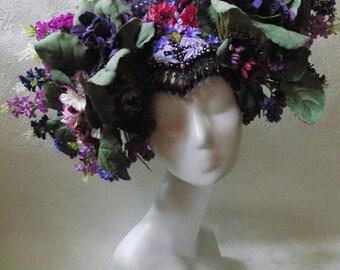 """Headdress """"Kokoshnik with Violets"""""""
