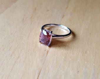 Pink tourmaline silver ring size 6.5