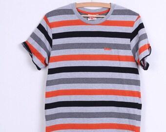 Lee Cooper Mens M T-Shirt Vintage Stripes Grey