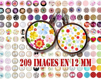 12 MM Digital Collage Sheet Printable Instant Download for art jewelry scrapbooking bottle caps magnets pins