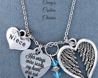 Niece ~ Her Wings Were Ready, My Heart Was Not Memorial Necklace, Swarovski Birthstone, Sympathy Jewelry Memorial Gift, Personalized Gift