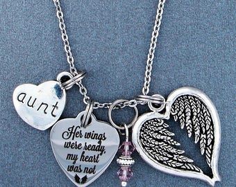Aunt ~ Her Wings Were Ready, My Heart Was Not Memorial Necklace, Swarovski Birthstone, Sympathy Jewelry Memorial Gift, Personalized Gift