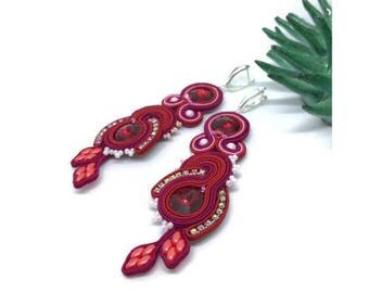 Soutache jewelry Embroidery red burgundy soutache earrings Wife Valentine statement gift Silver long boho earrings