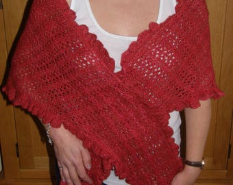 OOAK Hand Knitted Triangular Lace Shawl