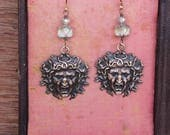 Gorgon Medusa Earrings with Ethereal Luminous Glass Beads French Brass French Findings Stampings
