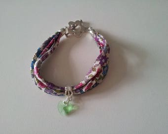 Liberty fabric bracelet three strings Crystal charm