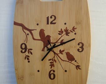 Clock Cutting Board Hand painted    Birds on a Branch