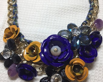 1980s take on Miriam Haskell, sumptuous enamel Necklace.