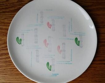 """Gien France Handpainted Midcentury Modern Fantaisie Rare Pattern Dinner Plate Small Platter 10"""" 1950s"""