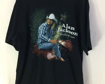 """Vintage 90s Alan Jackson 1996 """"Everything I Love"""" T shirt Size XL Black Made In USA Country Music"""