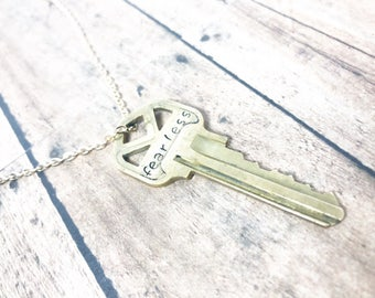 Key Necklace - Hand Stamped Key Necklace - Word Key Necklace - Fearless Necklace