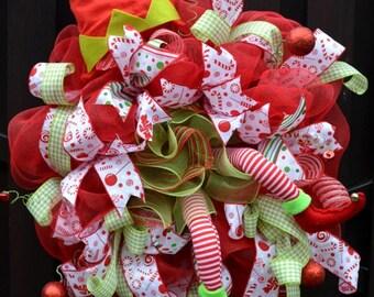 Christmas Wreath, Christmas Decor, Candy Land Wreath, Elf Wreath, Elf Decor, Weinachtskranz, Türkranz