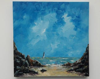 Original oil painting on gallery canvas 'Cornish Cove' by Michael Hemming