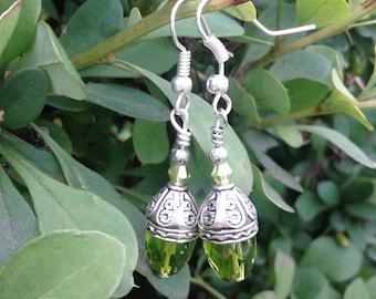 Olive Green Swarovski Crystal Earrings 2